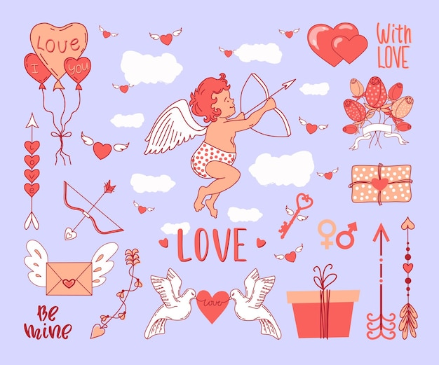 День святого валентина. амур и стихия любви. Premium векторы
