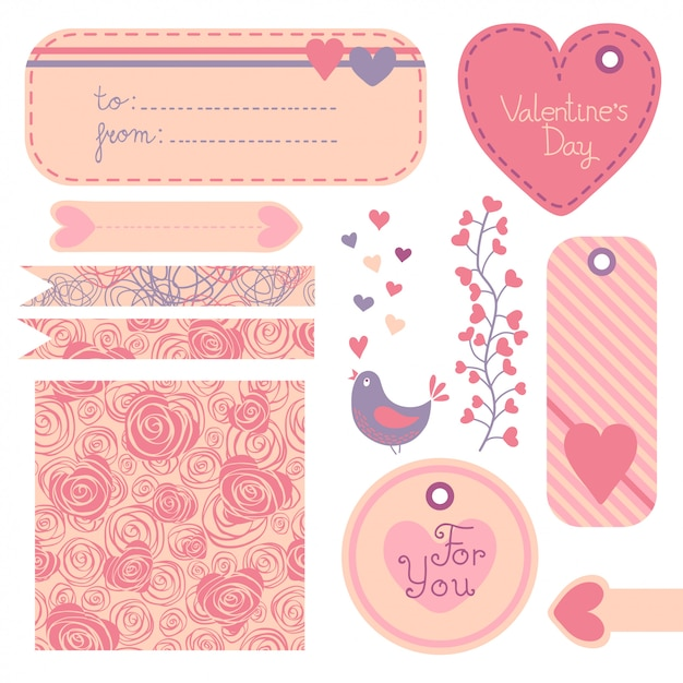 Valentine's day set of design elements. Premium Vector