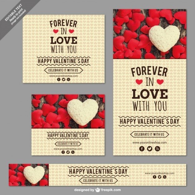 Valentine's Day set Free Vector
