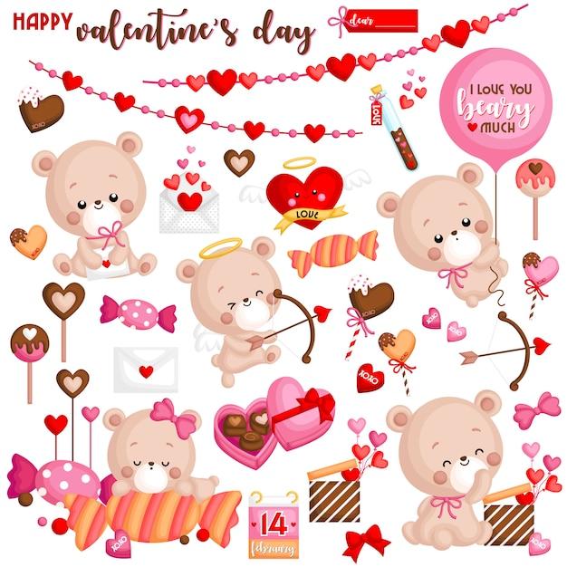 Valentine's day set Premium Vector