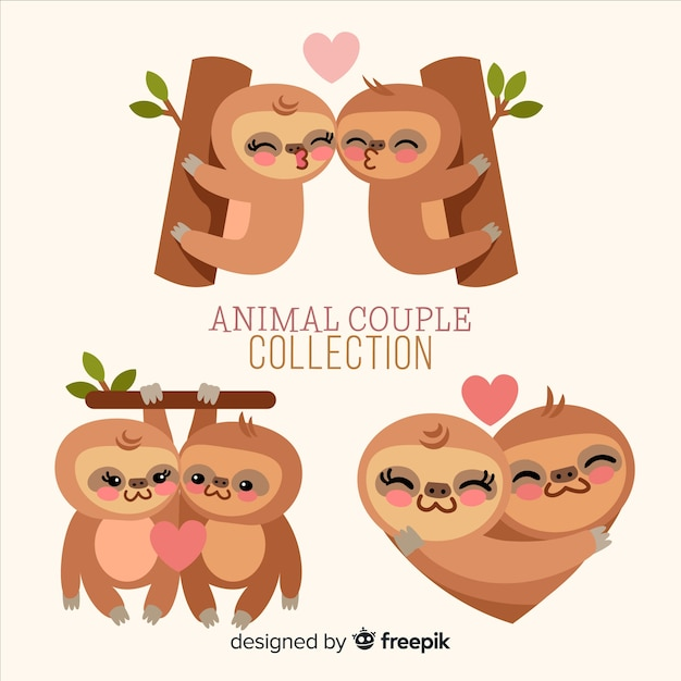 Valentine's day sloth couple pack Free Vector