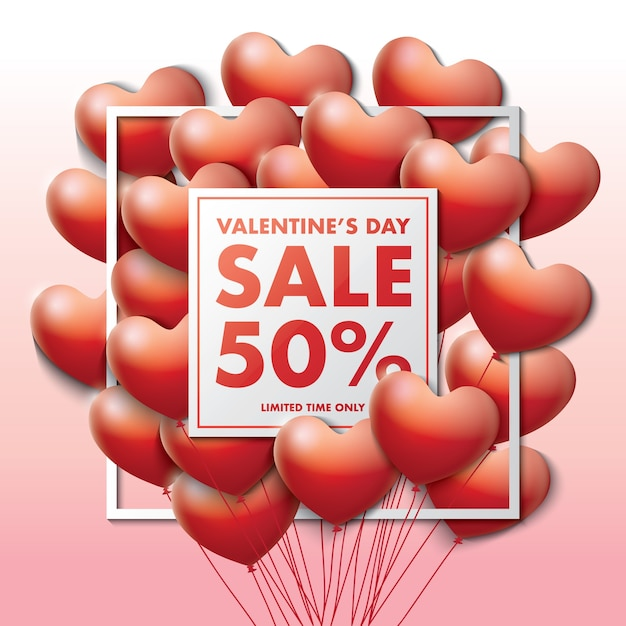 valentine's day special offer card with decorative balloons of, Ideas