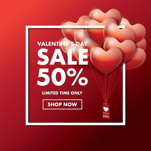 Valentine S Day Special Offer Card With Decorative Balloons Of Heart