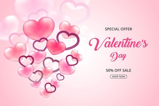 발렌타인 데이 특별 할인 판매 현실적인 달콤한 마음, 판촉 및 쇼핑 핑크 배너 또는 배경 프리미엄 벡터