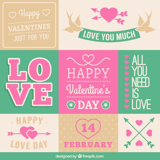 Valentine's day stationery greetings Free Vector