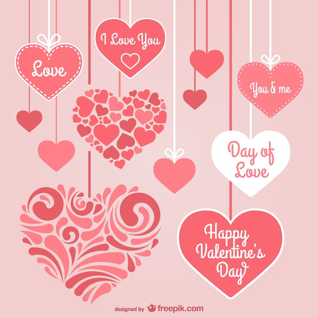 Valentine's Day stationery hearts Vector | Free Download