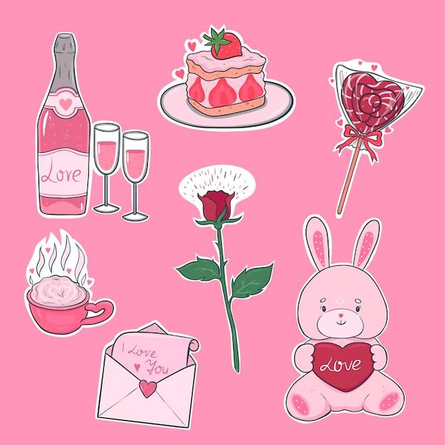 Наклейки на день святого валентина в розовых тонах. векторная графика Premium векторы