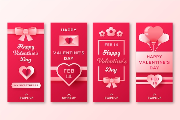 Valentine's day story collection with ribbon Free Vector