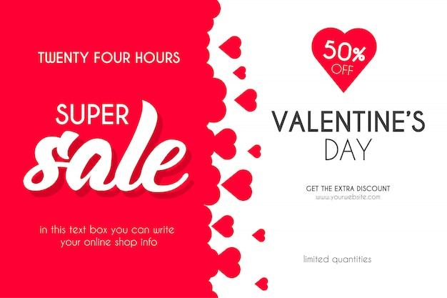 Valentine's day super sale with hearts background Free Vector