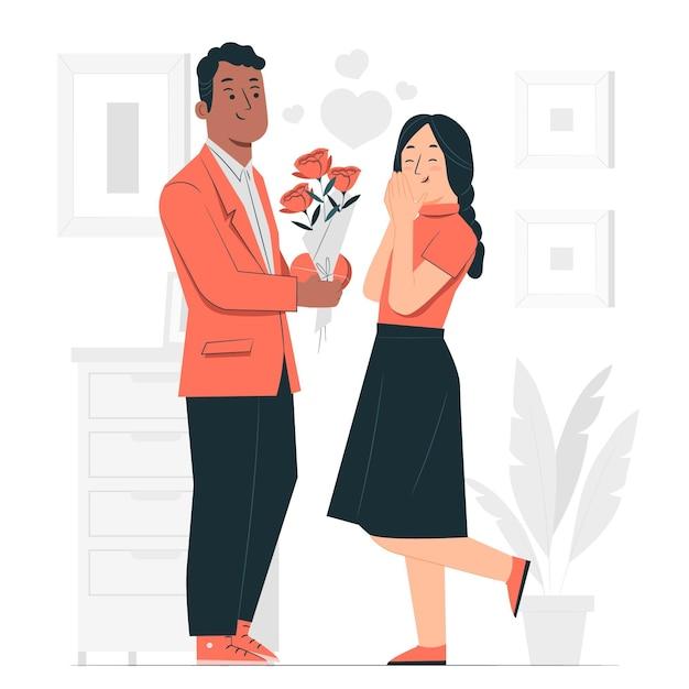 Valentine's day surpriseconcept illustration Free Vector