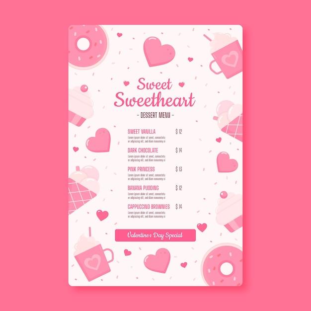 Valentine's day sweetheart restaurant menu Free Vector