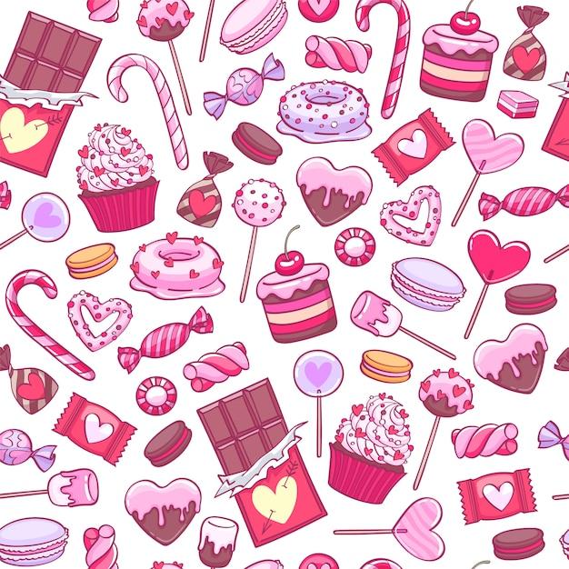 День святого валентина сладости и печенье фон. ассорти конфет. Premium векторы