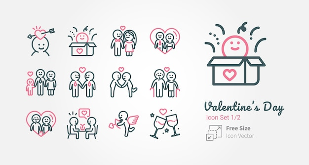 Valentine's day vector icon collection with outline stroke Premium Vector