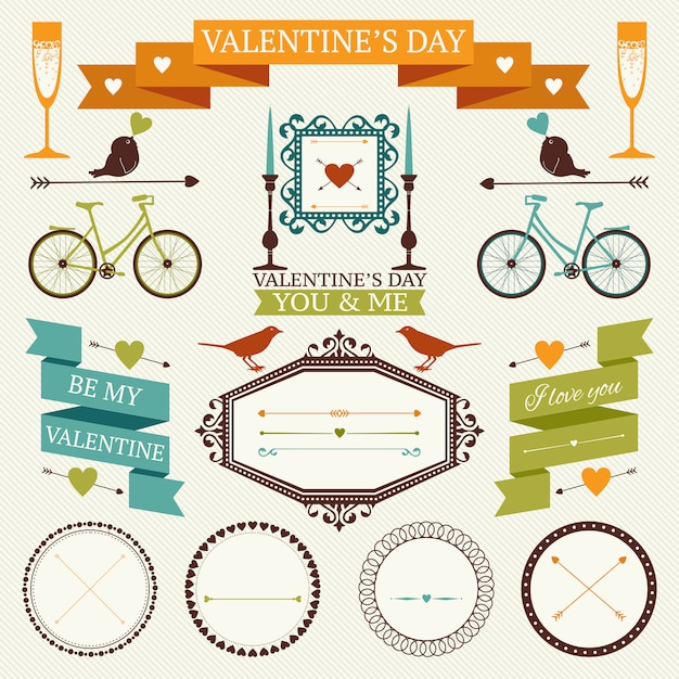 Valentine's day vintage frames, border, ribbons and other  elements collection. Premium Vector