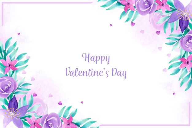 Valentine's day wallpaper with watercolor flowers Free Vector