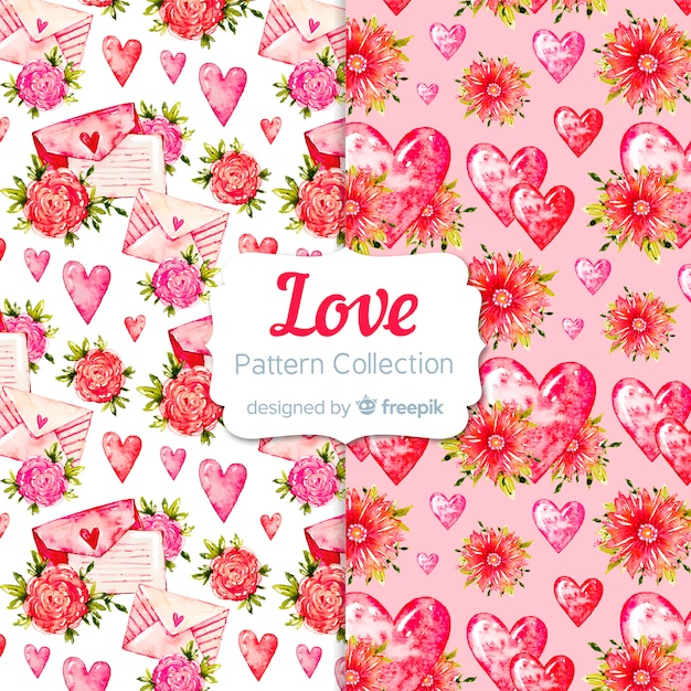 Valentine's day watercolor pattern collection Free Vector