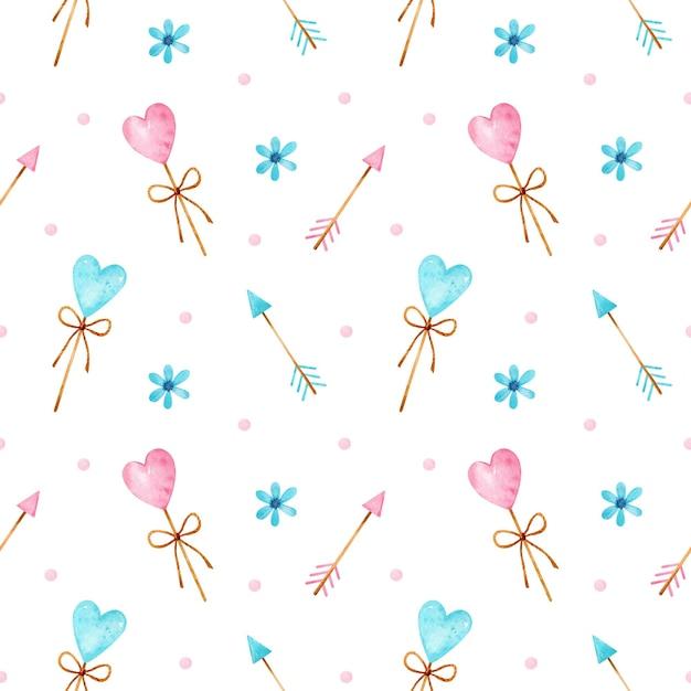 青とピンクのハート型のロリポップ、矢印、花、紙吹雪とバレンタインデーの水彩画のシームレスなパターン Premiumベクター