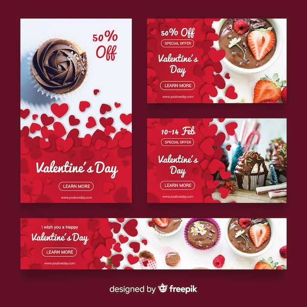 Valentine's day web banner collectio Free Vector