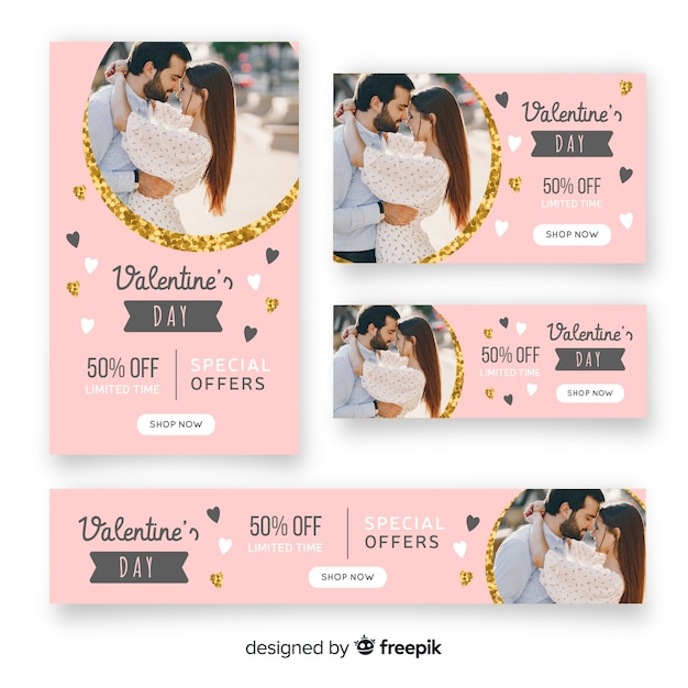 Valentines Day Web Banners With Photo Free Vector