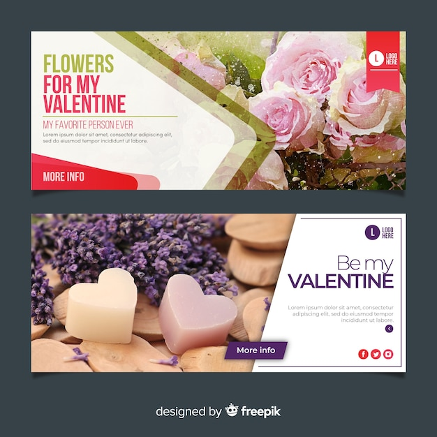 Valentine's day web banners with photo Free Vector
