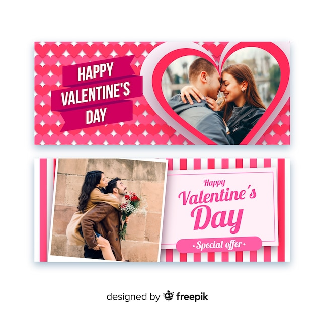 Valentine's day web banners Free Vector