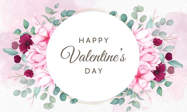 아름다운 꽃과 함께 발렌타인 데이 무료 벡터