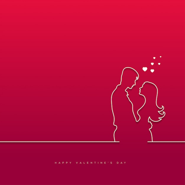 Valentine's day with couple background Premium Vector