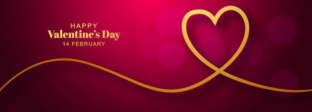 Valentine's day with heart banner design Free Vector