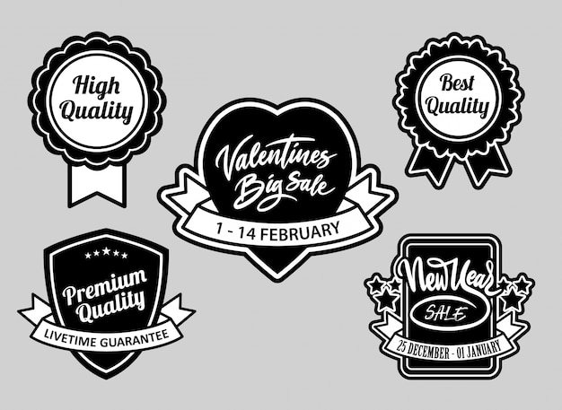 Valentine's and event sale, best quality badges black and white good use for logo Premium Vector