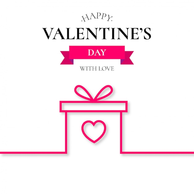 Valentine's gift line background Free Vector