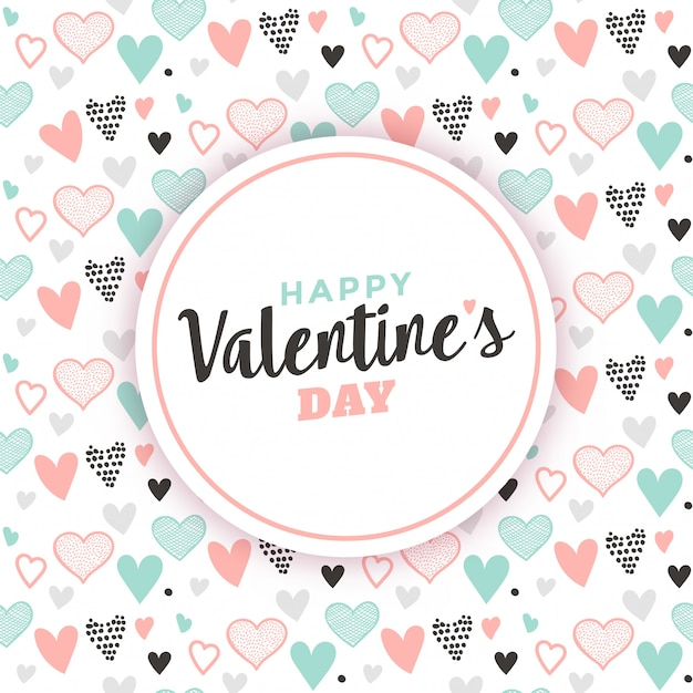 Valentine's greeting with heart pattern background Premium Vector
