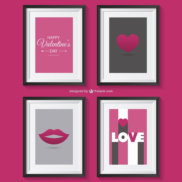 Valentine's greetings with frames Free Vector