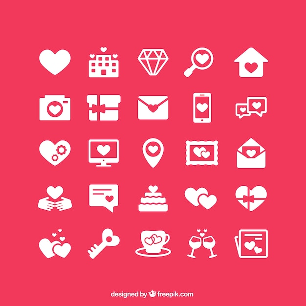 Valentine's icons collection Free Vector