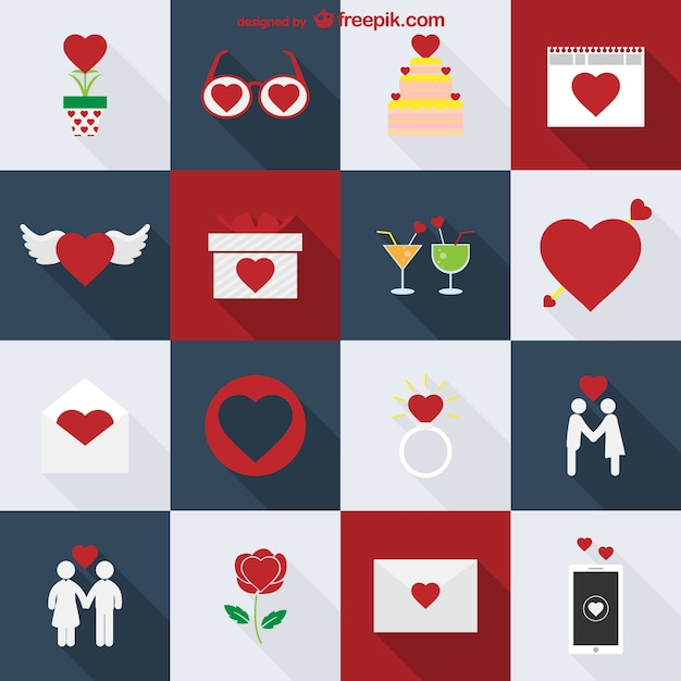 Valentine's icons pack Free Vector