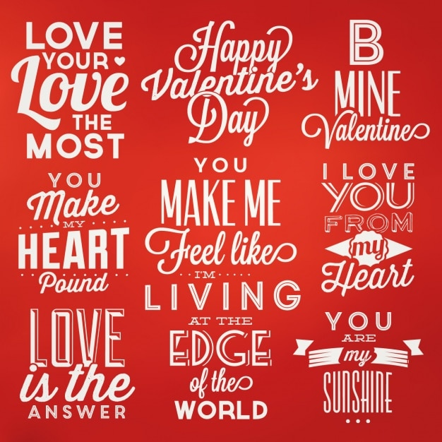 Valentines Lettering Designs Collection Free Vector