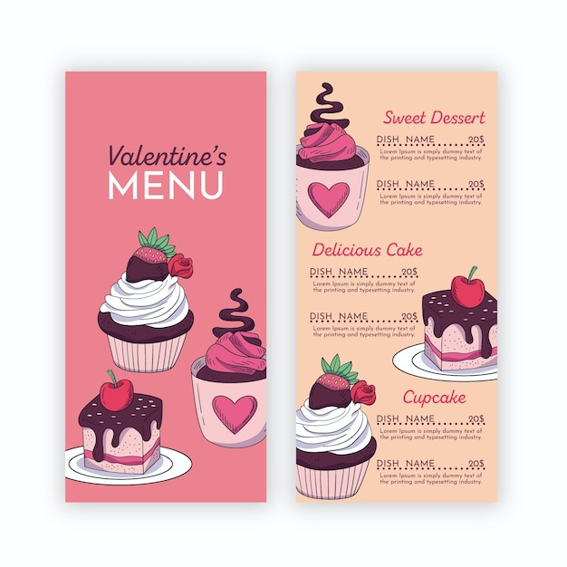 Valentine's menu template with cupcakes Free Vector