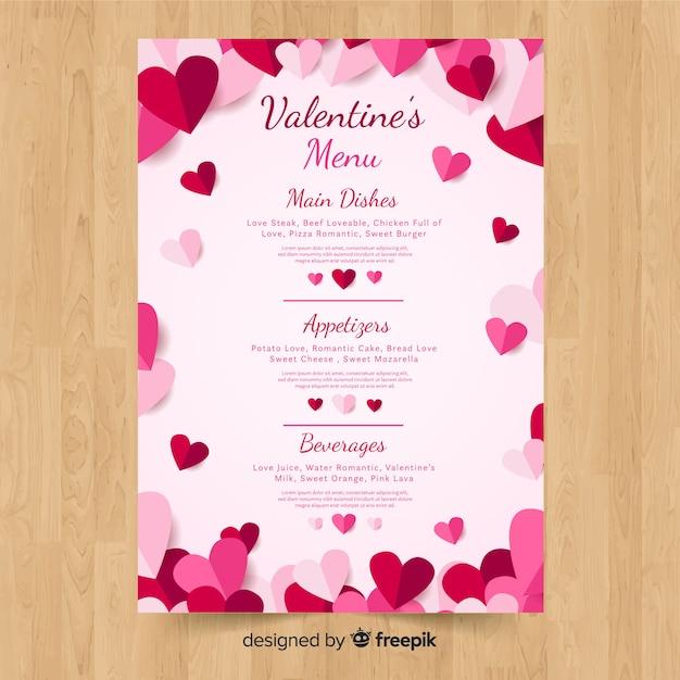 Valentine's menu template Free Vector