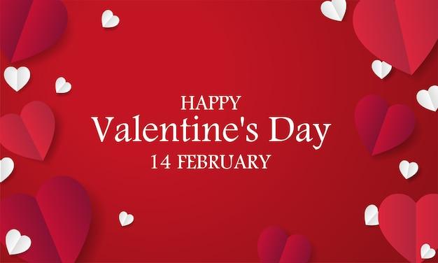 День святого валентина фон с красными бумажными сердечками Premium векторы