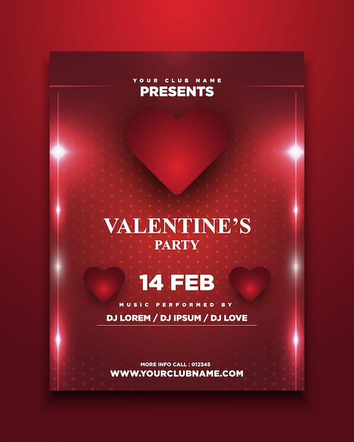 Valentine S Party Invitation Card With Glowing Vector