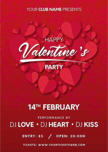 印刷する準備ができての心とバレンタインパーティーのポスター 無料ベクター