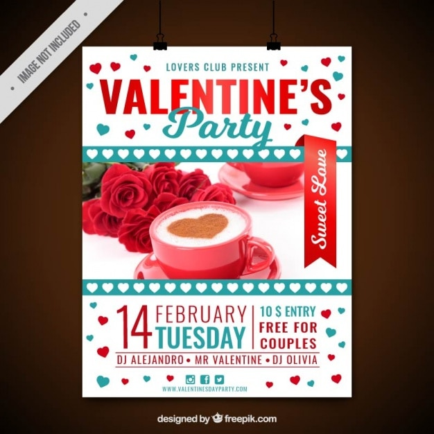 Valentine's party poster with red and blue details Free Vector