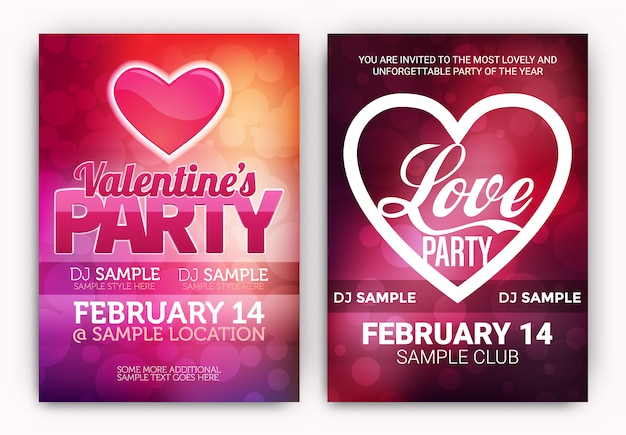 Valentine's party posters set vector free download