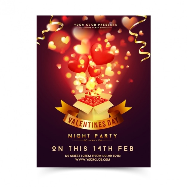 Valentine's poster with box full of hearts Premium Vector