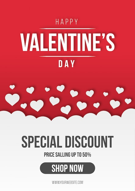 Valentine's sale background with hearts Free Vector