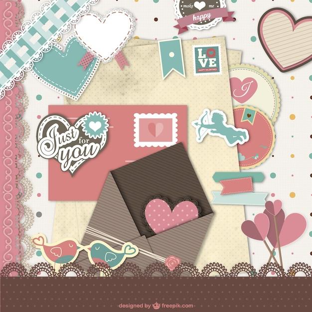 Valentine's scrapbook Vector | Free Download
