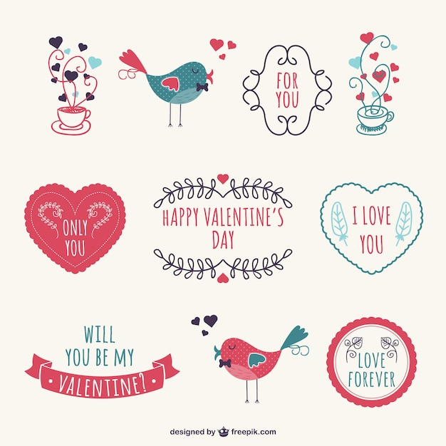 Valentineu0027s Stickers Free Vector