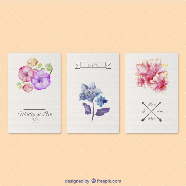 Valentine's watercolor cards Free Vector