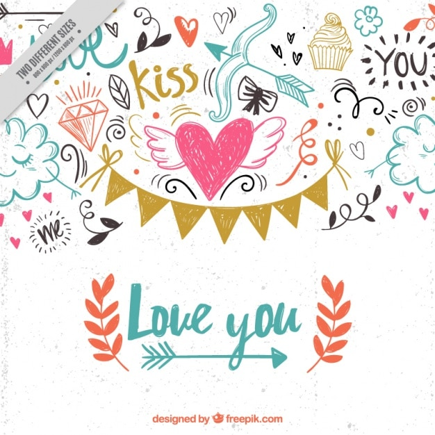 Valentine scribbles background Free Vector