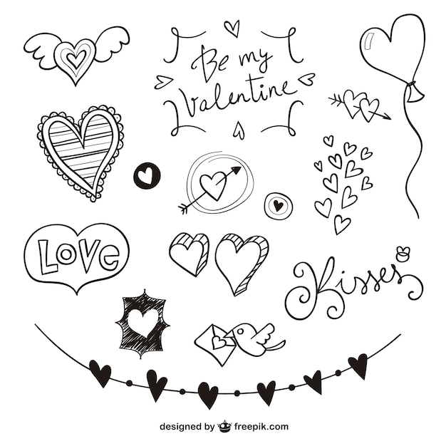 Valentine scribbles pack Free Vector