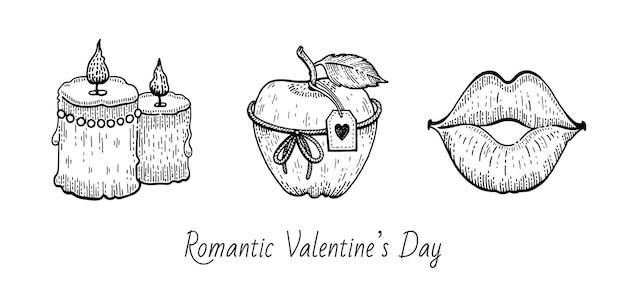 バレンタインスケッチセット。 Premiumベクター